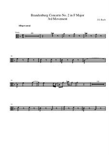 Brandenburg Concerto No.2 in F Major, BWV 1047: Movement III – viola part by Johann Sebastian Bach