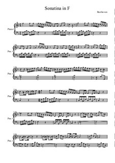 Sonatina in F Major: For piano (high quality sheet music) by Ludwig van Beethoven