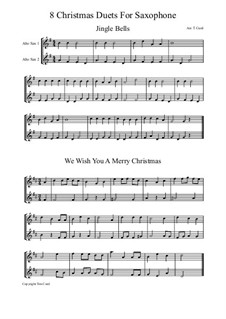Eight Chrismas Duos or Trios: Duos for two saxophones by Felix Mendelssohn-Bartholdy, Franz Xaver Gruber, Lewis Henry Redner, James Lord Pierpont, Unknown (works before 1850)