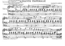 Andante Pastorale for Organ: Andante Pastorale for Organ by Gerhard Theodore Alexis