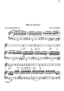 An Sylvia (To Sylvia), D.891 Op.106 No.4: Piano-vocal score by Franz Schubert