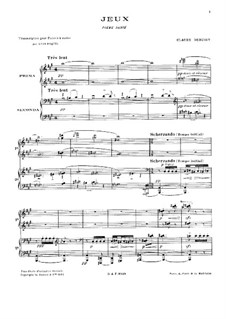 Jeux (Games), L.126: For piano four hands by Claude Debussy