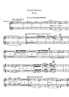 Jeux (Games), L.126: Clarinets parts by Claude Debussy