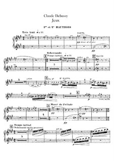Jeux (Games), L.126: Oboes and cor anglais parts by Claude Debussy