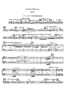 Jeux (Games), L.126: Trombones and tubas parts by Claude Debussy