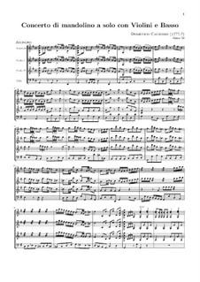 Concerto for Mandolin, Two Violins and Basso Continuo: Full score by Domenico Caudioso