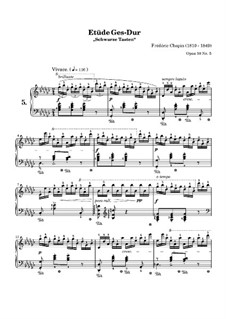 No.5 in G Flat Major: For piano (high quality sheet music) by Frédéric Chopin
