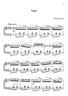 Waltz in A Flat Major, B.21 KK IVa/13: For piano (high quality sheet music) by Frédéric Chopin