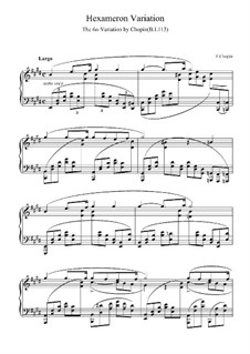 Variation No.6 in E Major from Hexameron, B.113 S.2/2: For piano (high quality sheet music) by Frédéric Chopin