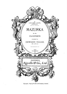 Three Characteristic Pieces, Op.10: No.1 Mazurka, for piano by Edward Elgar