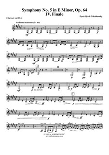Movement IV: Clarinet in Bb 2 (transposed part) by Pyotr Tchaikovsky