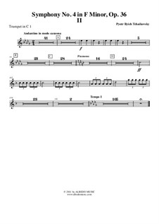 Symphony No.4 in F Minor, TH 27 Op.36: Movement II – trumpet in C 1 (transposed part) by Pyotr Tchaikovsky