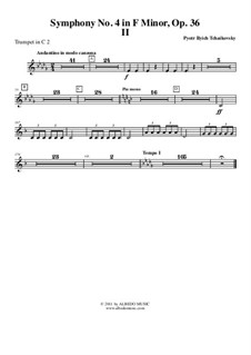 Symphony No.4 in F Minor, TH 27 Op.36: Movement II – trumpet in C 2 (transposed part) by Pyotr Tchaikovsky