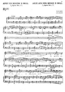 Agnus Dei: Piano-vocal score by Johann Sebastian Bach