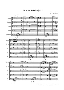 String Quintet No.5 in D Major, K.593: Full score, parts by Wolfgang Amadeus Mozart