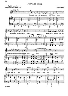 Florian's Song: Piano-vocal score by Benjamin Godard