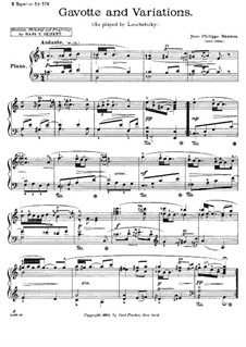 Gavotte and Variations: For piano by Jean-Philippe Rameau