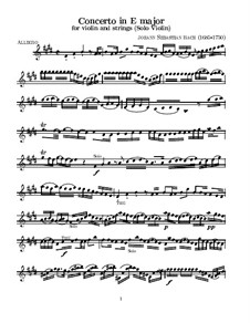 Concerto for Violin, Strings and Basso Continuo No.2 in E Major, BWV 1042: Violin solo part by Johann Sebastian Bach
