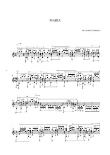 Maria. Gavotte: For guitar (high quality sheet music) by Francisco Tárrega
