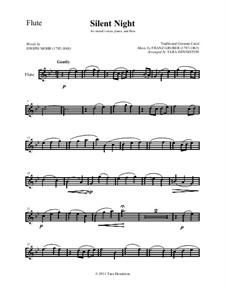 Silent Night (Downloadable): For flute, mixed choir and piano – flute part by Franz Xaver Gruber