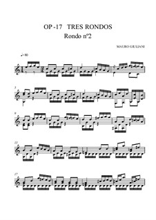 Three Rondos for Guitar, Op.17: Rondo No.2 by Mauro Giuliani