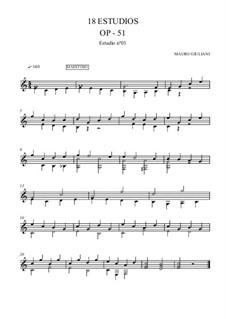 Eighteen Progressive Etudes, Op.51: Etudes No.1-6 by Mauro Giuliani