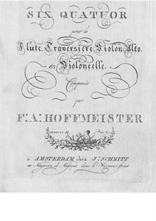 Six Quartets for Flute and Strings, Op.2: Flute part by Franz Anton Hoffmeister