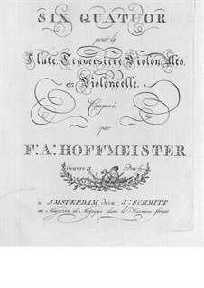 Six Quartets for Flute and Strings, Op.2: Violin part by Franz Anton Hoffmeister