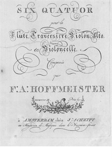 Six Quartets for Flute and Strings, Op.2: Viola part by Franz Anton Hoffmeister