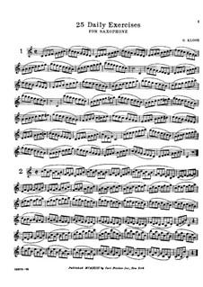 Twenty-Five Daily Exercises for Saxophone: Twenty-Five Daily Exercises for Saxophone by Hyacinthe Eléonore Klosé