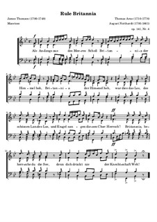 Rule Britannia, for Choir, Op.141 No.4: Rule Britannia, for Choir by Thomas Augustine Arne, Heinrich August Neithardt