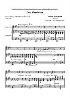 The Wanderer, D.493 Op.4 No.1: German text by Franz Schubert