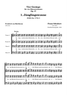 Four Songs for Four Male Voices, D.983 Op.17: Nr.1 Jünglingswonne by Franz Schubert
