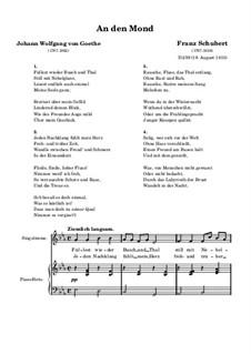 An den Mond (To the Moon), D.259: Piano-vocal score by Franz Schubert
