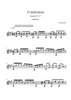 Thirty-Seven Sonatas for Guitar, MS 84: Sonata No.27 by Niccolò Paganini