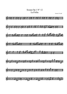 Trio Sonata No.1 in D Minor, RV 63 Op.1: Violin I part by Antonio Vivaldi