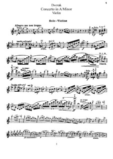 Concerto for Violin and Orchestra in A Minor, B.108 Op.53: Solo part by Antonín Dvořák