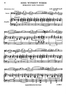 Romance without Words, Op.23: Score by Karl Julevich Davydov