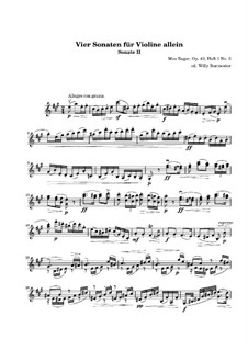 Four Sonatas for Violin, Op.42: Sonata No.2 in A Major. Movement I by Max Reger