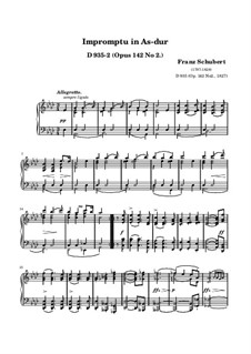 Four Impromptus for Piano, D.935 Op.142: Impromptu No.2 (high quality sheet music) by Franz Schubert