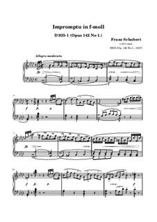 Four Impromptus for Piano, D.935 Op.142: Impromptu No.1 (high quality sheet music) by Franz Schubert