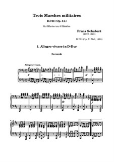 Three Marches Militaires for Piano Four Hands, D.733 Op.51: March No.1 by Franz Schubert