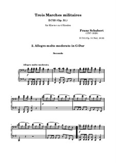 Three Marches Militaires for Piano Four Hands, D.733 Op.51: March No.2 by Franz Schubert