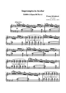 Four Impromptus for Piano, D.899 Op.90: Impromptu No.4 (high quality sheet music) by Franz Schubert
