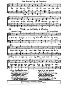 Work, for the Night is Coming: For choir by Lowell Mason