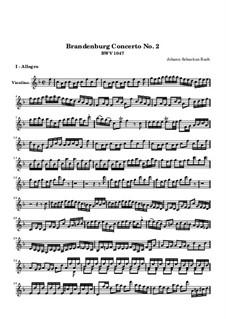 Brandenburg Concerto No.2 in F Major, BWV 1047: Violin solo part by Johann Sebastian Bach