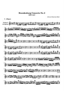 Brandenburg Concerto No.2 in F Major, BWV 1047: Violin I ripieno part by Johann Sebastian Bach