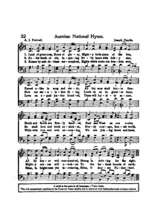 Austrian National Hymn, Hob.XXVIa/43: Vocal score by Joseph Haydn