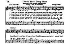 I Need Thee Every Hour: Vocal score by Robert Lowry