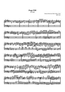 Prelude and Fugue No.8 in E Flat Minor, BWV 853: For keyboard by Johann Sebastian Bach